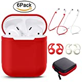 Tutor AirPods case Silicone protective cover with 2 Anti-lost Strap,2 Pairs of Ear Hook and 1 Headphone Case for Apple AirPods (6PACK)-Red