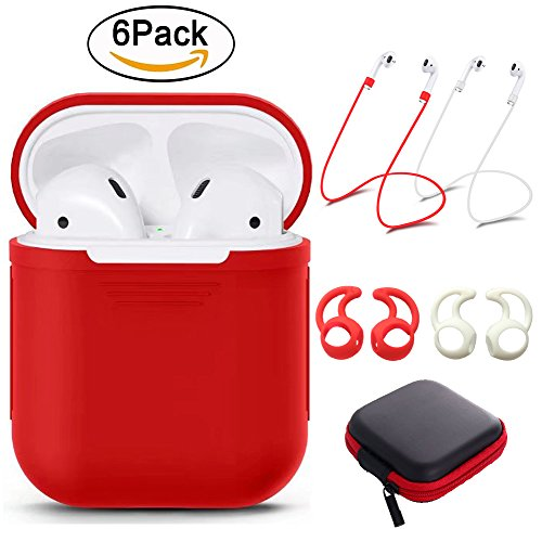 Price comparison product image Tutor AirPods case Silicone protective cover with 2 Anti-lost Strap,2 Pairs of Ear Hook and 1 Headphone Case for Apple AirPods (6PACK)-Red