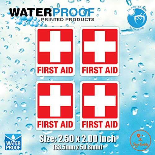 - (Pack of 4pcs) Red Cross Safety Sign Waterproof Vinyl Sticker for First AID Box/Kit Decal (2.50 x 2.00 inch)