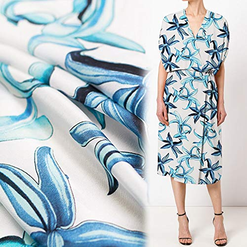 Pukido 12momme 114cm Width Blue Greenish Lily Flower Printed 100% Mulberry Silk Crepe de Chine Summer Dress Shirt Clothing Fabric
