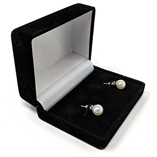 Black Velvet Lift Top Jewelry Box for a Pair of Earrings in Display Case