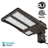 18000lm Ultra Bright LED Parking Lot Light with Photocell, 150W (450W Equiv.) Slipfitter Mount Area Lighting Fixture, Dusk-to-Dawn, DLC & ETL listed, for Docks, Driveways, Backyards, 5-YEAR WARRANTY