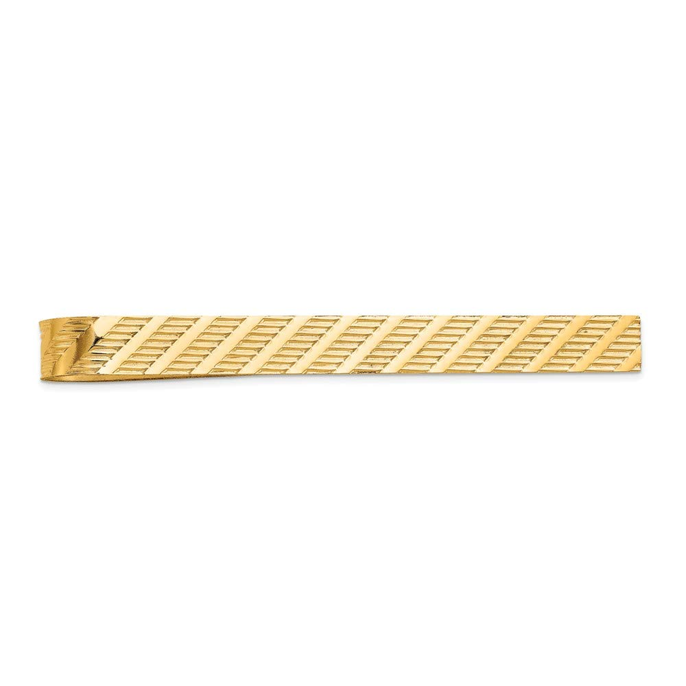 14K Yellow Gold Grooved Tie Bar Clip by Accessory Tie Bar (Image #2)