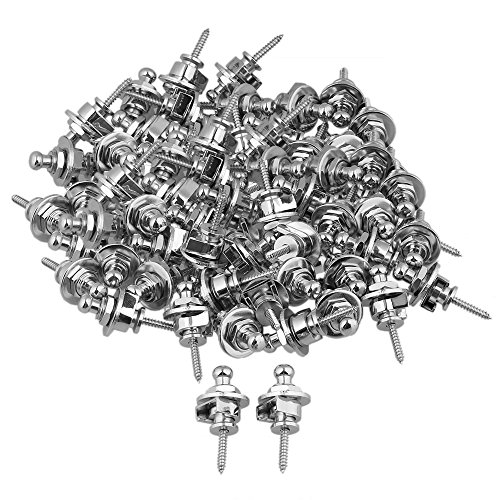 Yibuy Chrome Metal Round Head Guitar Strap Lock Pins Set of 60 by Yibuy