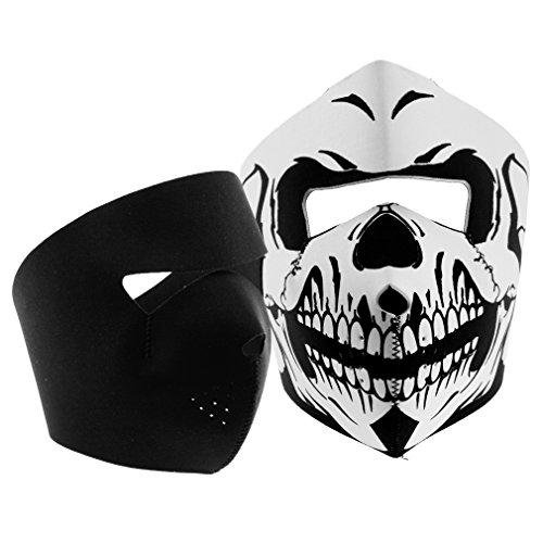 2Pcs Motorcycle Cycling Skull & Black Neoprene Reversible Full Face Mask