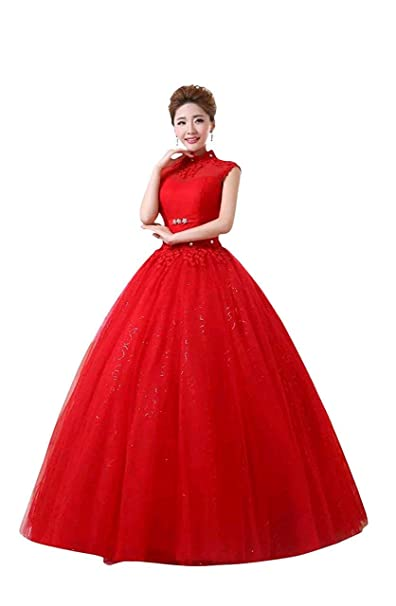 Gownlink Beautiful Full Stitched Christian Ball Gown Dress in Red Color for  Women,GL606 with Same Sleeves