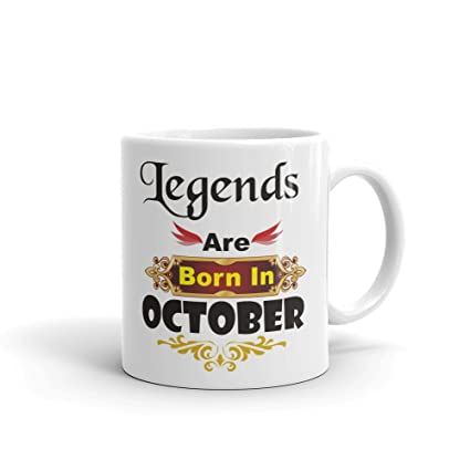 Family Shoping Birthday Gifts Legends Are Born In October White Coffee Mug 320ml