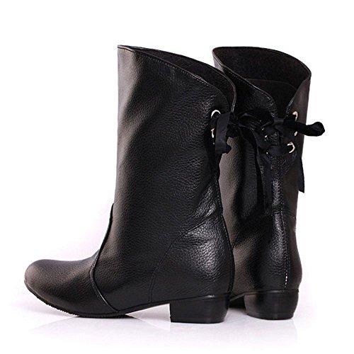 Femmes Mi Arriere Automne Western Black Bottes Lacets RAZAMAZA Bottines dTwRxOn4d5