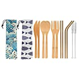 UPTRUST 2 Set Bamboo Cutlery Set Bamboo Travel Utensils reusable bamboo utensils with case, 7.8 Inches Bamboo Knife, Fork, Spoon, 3 colors Metal Straw. Portable Travel Set. (Golden Straw)