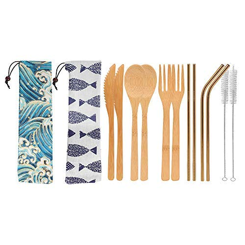 UPTRUST 2 Set Bamboo Cutlery Set Bamboo Utensils 6-piece Reusable Bamboo Flatware Set Travel Utensils 7.8 Inches Bamboo Knife, Fork, Spoon, 3 colors Metal Straw. Portable Travel Set. (Golden Straw)