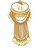Dangling Imprinted Round Pendant Multi Chain Necklace and Earrings Jewelry Set in Gold-Tone