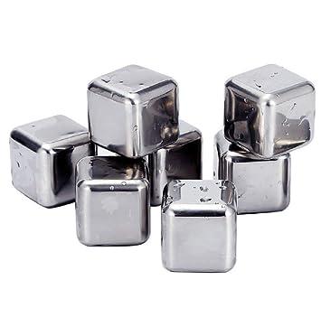 YOU+ - Juego de 8 cubos de hielo reutilizables de acero ...