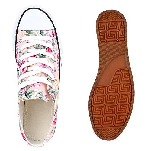 Damen Sneakers Blumen Freizeitschuhe Denim Sneaker Low Schuhe Stoffschuhe Turnschuhe Flandell Rosa