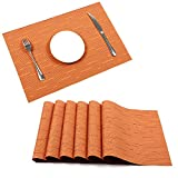 outdoor dining ware - Placemats, U'Artlines Heat-resistant Placemats Stain Resistant Anti-skid Washable PVC Table Mats Woven Vinyl Placemats, Set of 6(6pcs placemats, Orange)