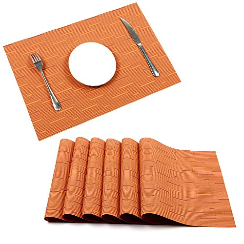 Placemats, U'Artlines Heat-resistant Placemats Stain Resistant Anti-skid Washable PVC Table Mats Woven Vinyl Placemats, Set of 6(6pcs placemats, (Orange Place)
