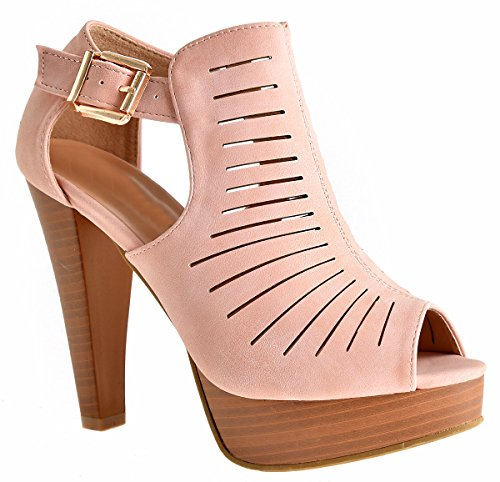 Top Moda Table-1 Women's peep toe platform chunky heel closed back buckle T-strap nubuck pumps (5.5 B(M) US, Blush 6)