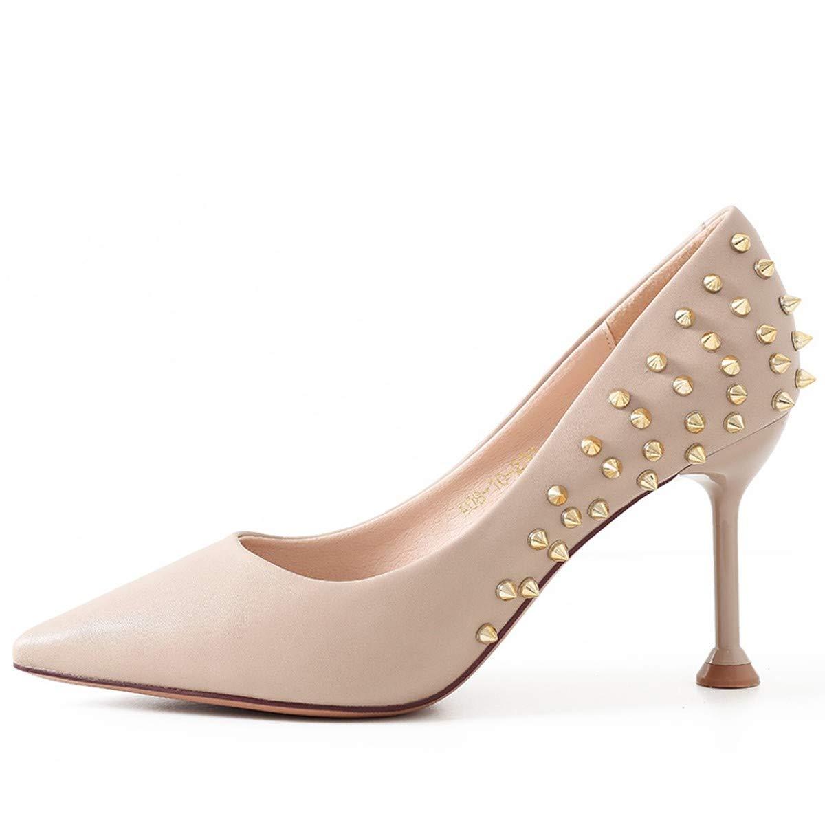 LBTSQ-Nieten High Heels dünn und Spitz 7cm Sexy Katze und Mode Schuhe.