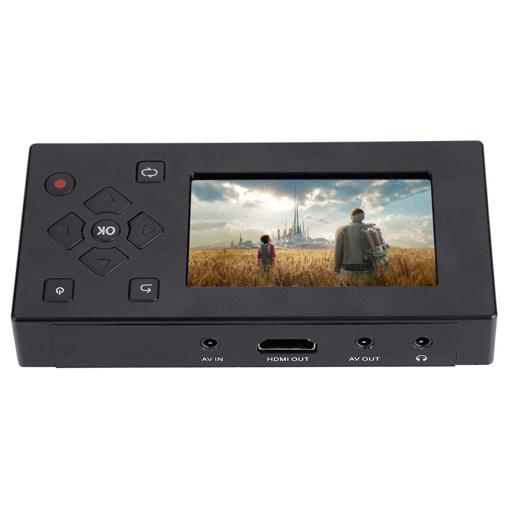 fosa Audio and Video Converter, 3'' TFT Screen AV Recorder Video to Digital Converter Video File Recorder Adapter Video Capture Recording Player Support SD Card Real-time