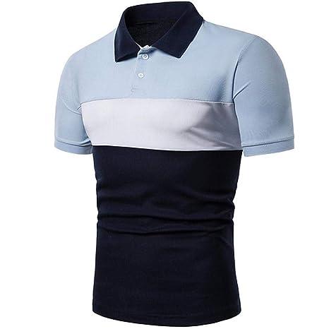 YFLTP Polo de Uso Diario para Hombre - Camisa Color Block con ...