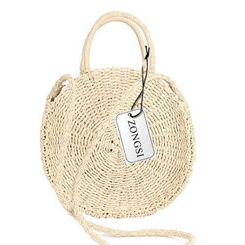 Vintage Mini Bag (Zognsi Round Straw Beach Bag Summer mini Vintage Handmade Crossbody Bag Circle Rattan bag Small Bohemian Shoulder bag for women (Beige 2))