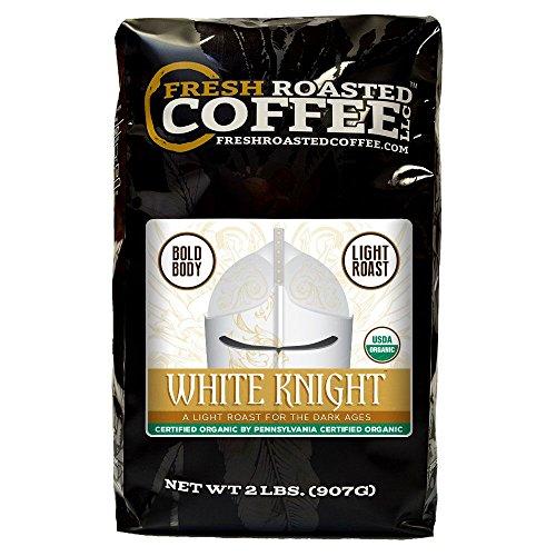 Organic White Knight Light Roast Coffee, Artisan Blend, Fair Trade, Whole Bean Bag, Fresh Roasted Coffee LLC. (2 LB.)
