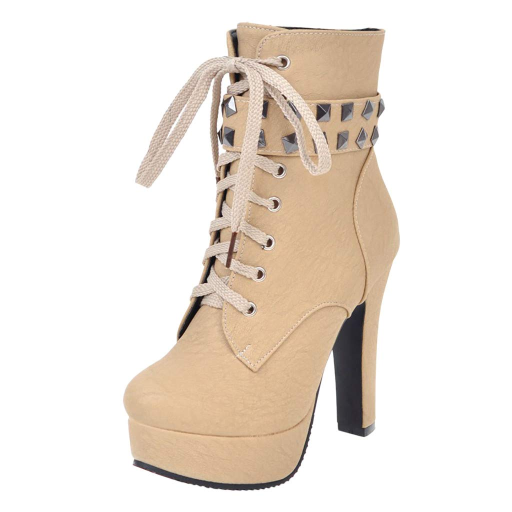 Inverlee Shoes Womens Round Toe Lace Up Ankle Buckle Chunky High Heel Platform Knight Boots Beige