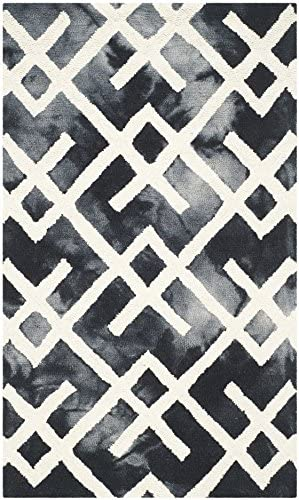 Safavieh Dip Dye Collection DDY677J Handmade Geometric Watercolor Graphite and Ivory Wool Area Rug 2 x 3