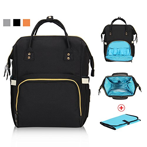 Hynes Eagle Multi-function Baby Diaper Bag Backpack for Dad Mom Stylish Nappy Bag with Changing Pad Black