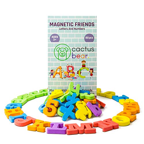 Cactus Bear Magnetic Letters and Numbers for Children - ABC Fun Alphabet Refrigerator Toy Magnets for Vocabulary and Maths - 80 Foam PCS