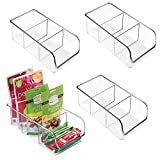 mDesign Plastic Food Packet Kitchen Storage Organizer Bin Caddy - Holds Spice Pouches, Dressing Mixes, Hot Chocolate, Tea, Sugar Packets in Pantry, Cabinets or Countertop - 4 Pack - Clear