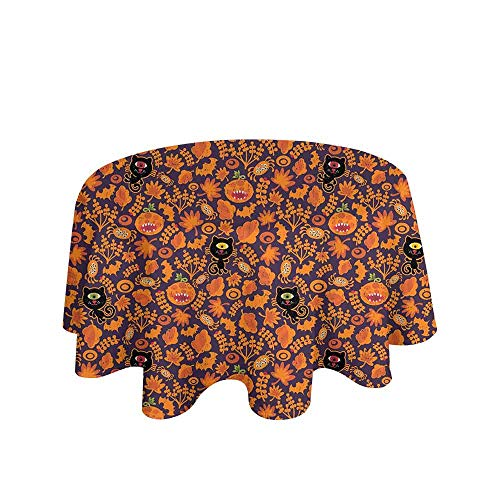 Curioly Vintage Halloween Printed Tablecloth Halloween Themed Elements on a Purple Background Scary Mosters Desktop Protection pad D70 Inch Dark Purple Orange ()