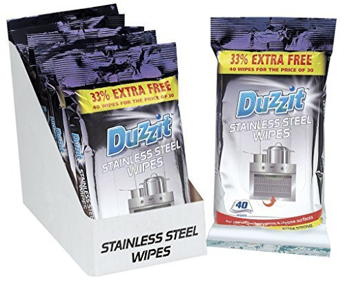 3 X Duzzit 40 stainless steel wipes, 33% extra free