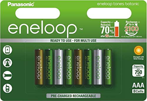 - 8 x Panasonic Eneloop Botanic AAA Batteries 750mAh Ni-MH Rechargeable BK-4MCCE