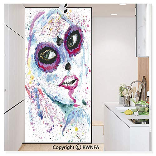 RWN Film Window Films Privacy Glass Sticker Grunge Halloween Lady with Sugar Skull Make Up Creepy Dead Face Gothic Woman Artsy Static Decorative Heat Control Anti UV 30In by 59.8In,Blue Purple -