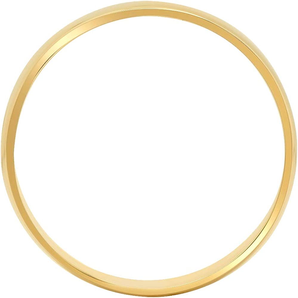 Clara Pucci 14K Yellow Gold men's and women's plain wedding bands 5mm comfort-fit light Double Accent (Size 3.5 to 10.5)