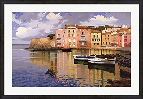 (Evening Village by Ramon Pujol Framed Art Print Wall Picture, Espresso Brown Frame, 43 x 30 inches)