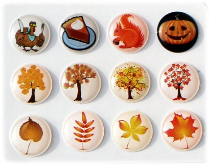 - 3D Semi-circular Autumn Season Fall Leaves Trees Pumpkin Pie Squirrel Turkey 12 Pieces Bubble Home Button Stickers for iPhone 5 4/4s 3GS 3G, iPad 2, iPad Mini, iTouch