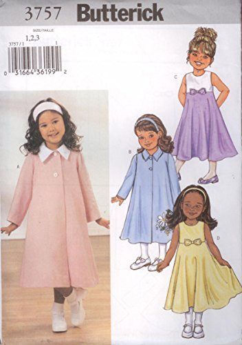 Butterick Sewing Pattern 3757 Girls Size 1-2-3 Easy Spring Swing Coat Sleeveless Empire Waist Dress