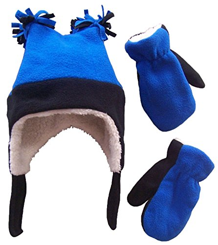 N'Ice Caps Boys Sherpa Lined Micro Fleece Four Corner Ski Hat and Mitten Set (2-3yrs, Black/Royal)