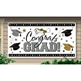 "Amscan Large Grad Horizontal Black, Silver and Gold Graduation Party Banner Decoration, Plastic, 65"" x 33""."