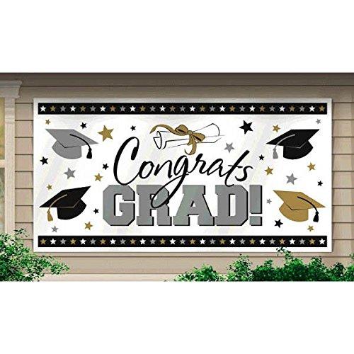 "Large Grad Horizontal Black, Silver and Gold Graduation Party Banner Decoration, Plastic, 65"" x 33""."