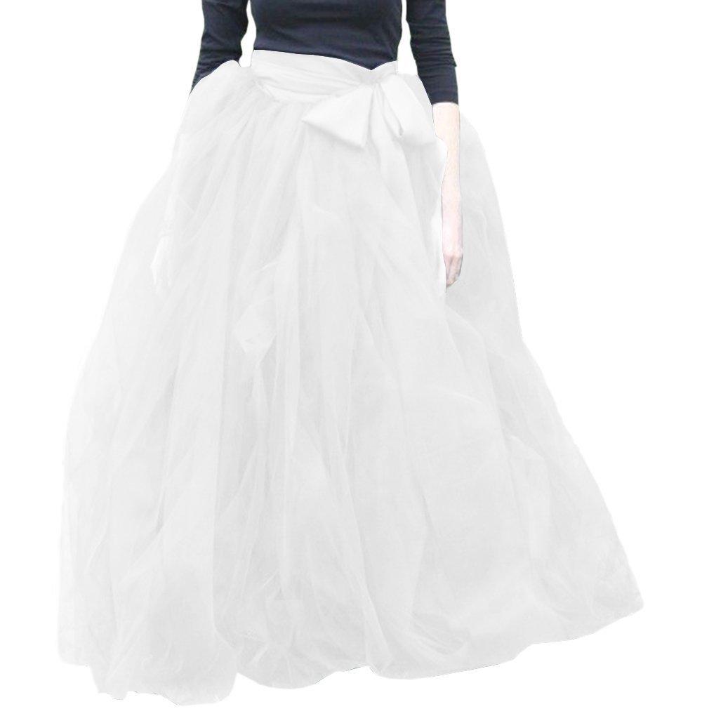 White Wishopping Womens Long Ruffles Tutu Tulle Skirt