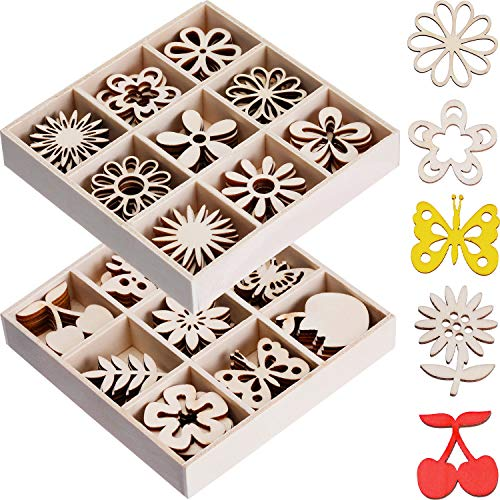 Boao 90 Pieces Mini Laser Cuts Wood Shapes DIY Mini Unfinished Laser Cut Wood Flower and Butterfly Themed for Card Gift Tags Home Decor Planner
