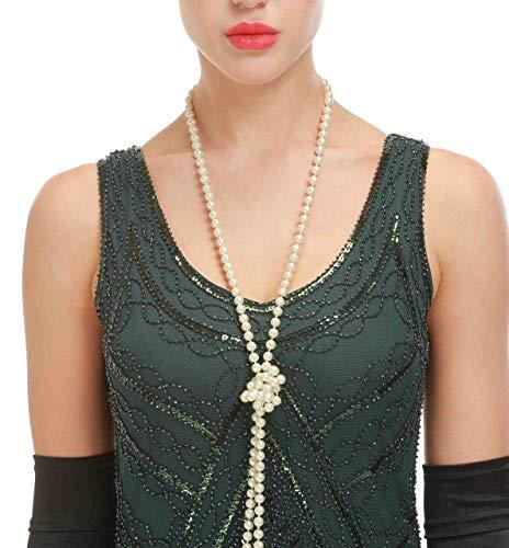 Flecos Vestido Great Gatsby Años 20 Vintage Mujer Con Los Verde De Oscuro rwwq70nOp