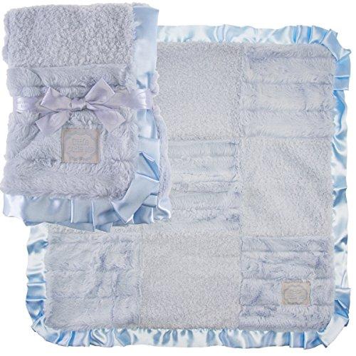 Patchwork Baby Shower - Kathy Ireland 2 Pack Patchwork Baby Blankets Soft Security Lovey Blankie Satin Trim