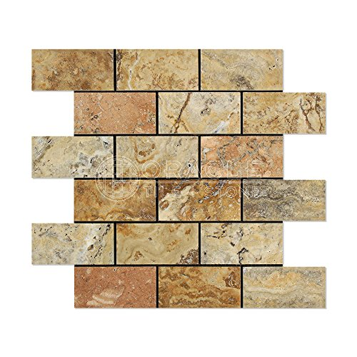 Oracle Scabos Travertine 2 X 4 Brick Mosaic Tile, Polished