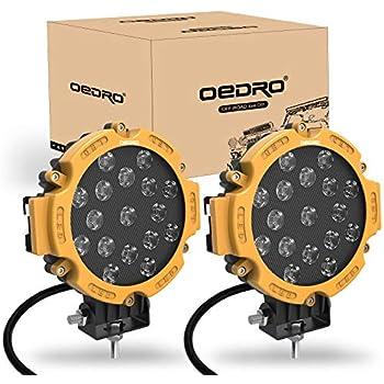 Amazon com: OEDRO 7 Inch 51W LED Light Bar, Round Spot Light Pods