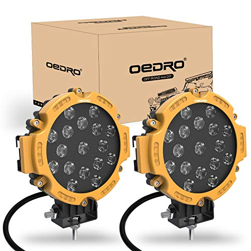 OEDRO 7 Inch 51W LED Light Bar, Round Spot Light Pods Off Road Driving Lights Fog Bumper Roof Light for Boat, Jeep, SUV, Truck, Hunters, Motorcycle, 2 years Warranty (Yellow Cover)