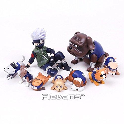 (Naruto Shippuden Hatake Kakashi with Eight Ren Dogs Mini PVC Figures Toys 9pcs/set 1.5~7cm )