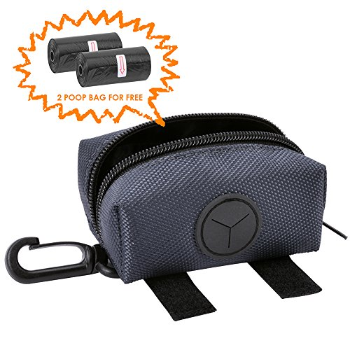 penser, Pet Poop Bag Waste Bag Dispenser, with 2 Rolls of Poop Bags, with Clip onto Your Leash, Pant Loop or Keys, for Outdoors Walking, Running and Hiking (Grey) ()